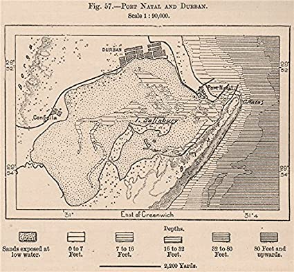Natal South Africa Map.Amazon Com Port Natal Durban And Durban South Africa 1885