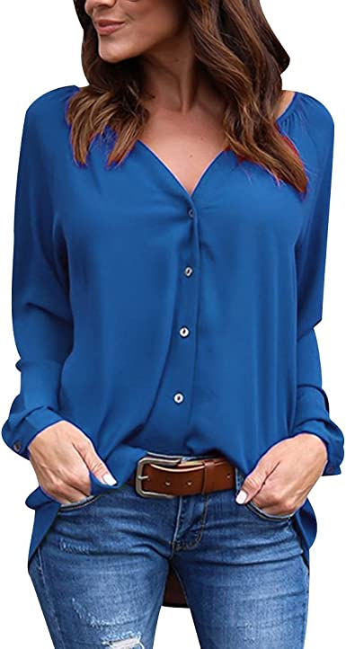 ISSHE Blusa Gasa Blusas Manga Larga para Dama Camisas de Mujer Blusones Camisetas Largas Juveniles Top Cuello EN V Boton Tops Camisa Elegantes Anchas Verano Color Solido: Amazon.es: Ropa y accesorios