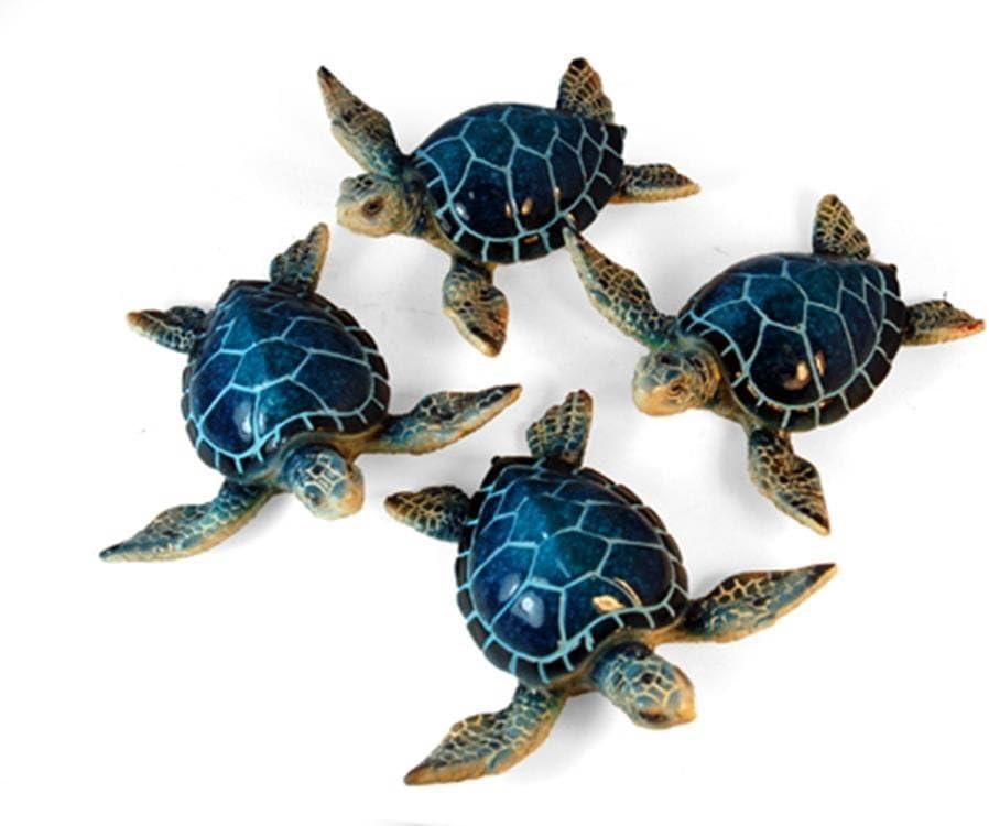 "StealStreet YXC-937 Ss-Ug-Yxc-937, 4.25"" Sea Turtle Decorative Figurines, Set of 4 - Blue & Green"
