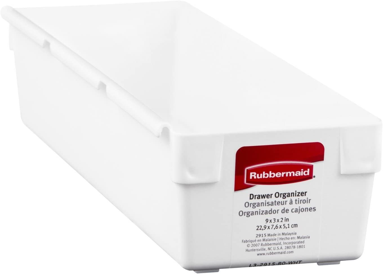 "Rubbermaid 2915RDWHT 9"" X 3"" X 2"" Drawer Organizers White"