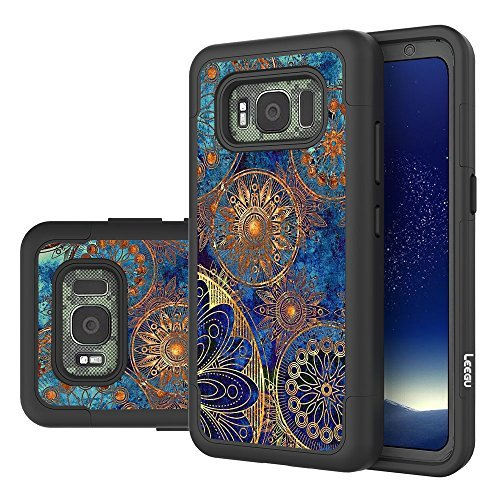 Galaxy S8 Active Case (Do Not Fit S8 or S8 Plus), LEEGU [Shock Absorption] Dual Layer Heavy Duty Protective Silicone Plastic Cover Case For Samsung Galaxy S8 Active (2017) - Gear Wheel