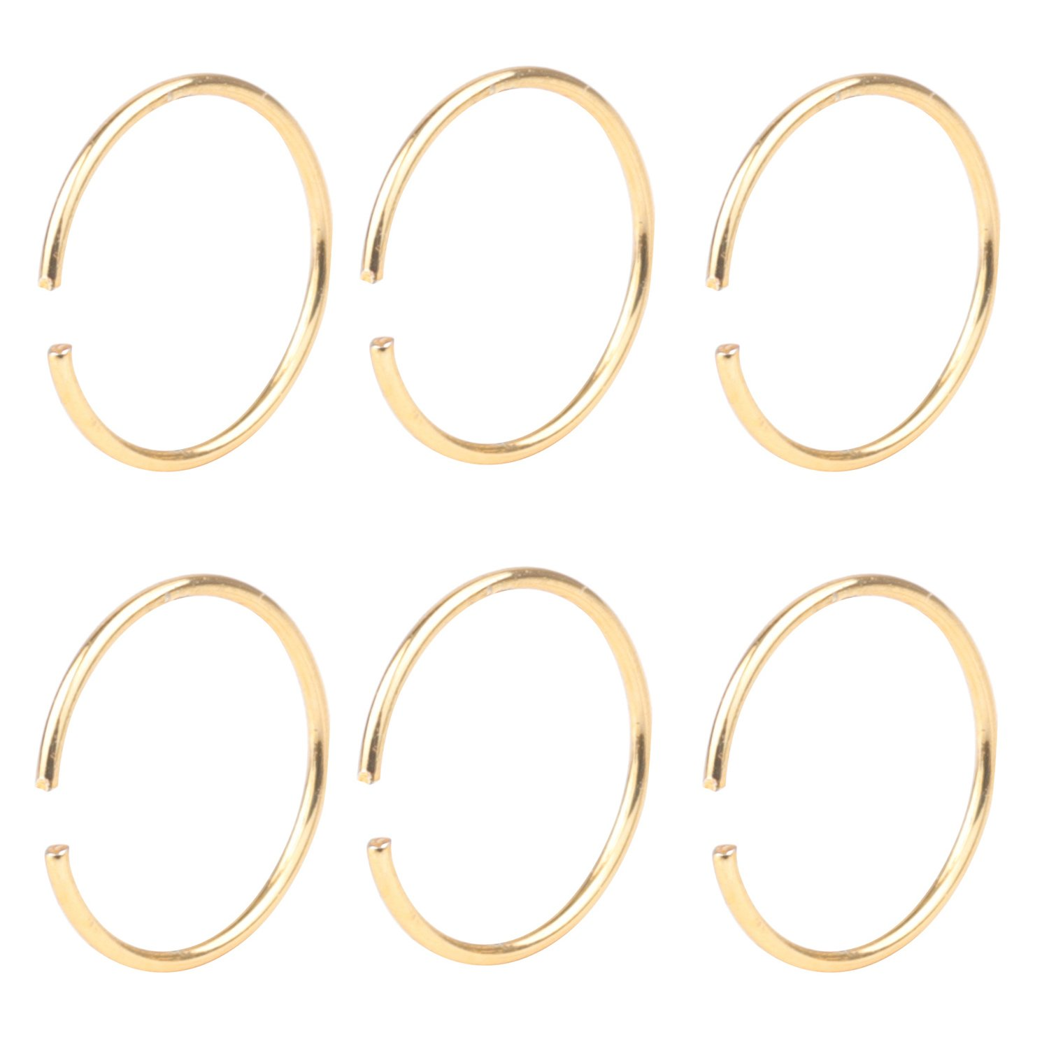 DRW 6pcs 22G Stainless Steel Non-Piercing Fake Clip on Closure Earrings Round Helix Cartilage Tragus Nose Lip Ear Hoop 10mm