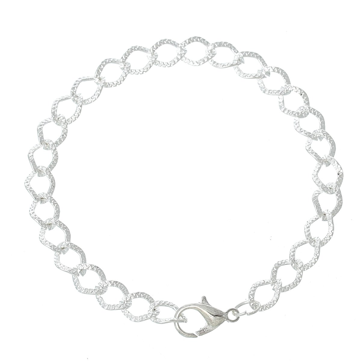 Housweety 12 Silver Plated Chain Bracelets Fit Clip on Charm 20cm 7-7//8