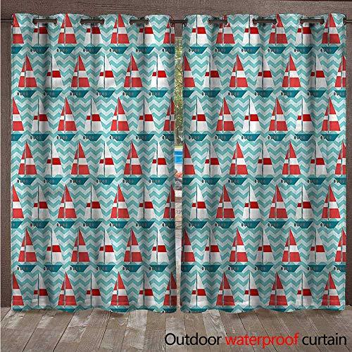 cobeDecor Sail Boat Home Patio Outdoor Curtain Zigzag Lines Wavy Ocean W96 x L108(245cm x 274cm) ()