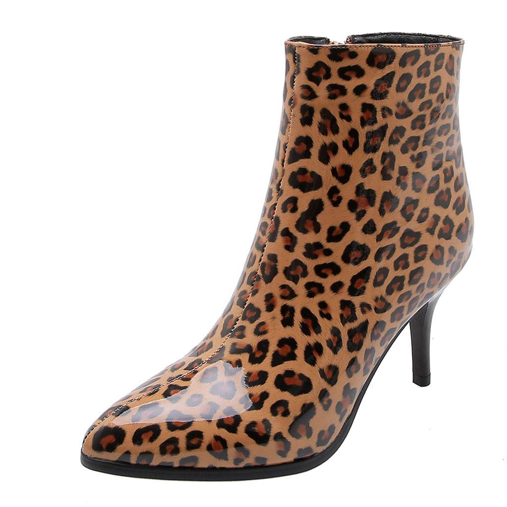BIKETAFUWY Women Plus Size Pointed Toe Leopard Print Ankle Boots High Stiletto Heels Shoes Zipper Party Dress Boots Yellow by BIKETAFUWY