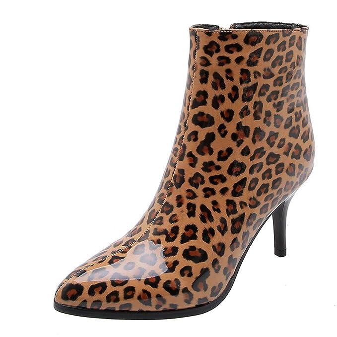 Moda Botas de Cuero Mujer Charol Botas de Leopardo Cremallera ...