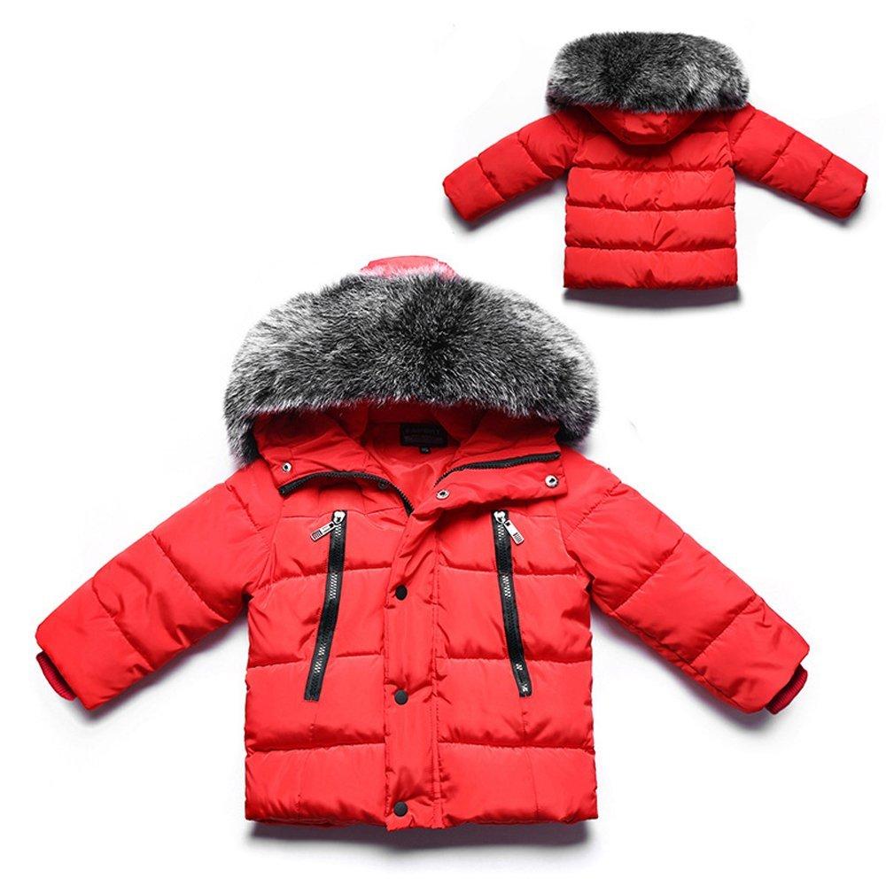 e6e75cbddb00e0 Amazon.com  Gaorui Girls Boys Winter Hooded Down Coat Jacket Thick Puffer Coat  Kids Warm Faux Fur Outerwear Coat  Clothing