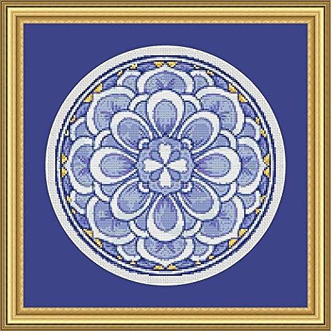 Floral Medallion #1 Cross Stitch Pattern - Beautiful Mandala Style Design (Not a Kit) - Floral Counted Cross Stitch