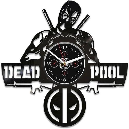 Handmade Wall Clock Vintage, Vinyl Record Wall Clock, Marvel Comics Clock, Deadpool Gift, Birthday Gift for Kids, Deadpool Vinyl Wall Clock, Wall Clock Large, Gift Deadpool, Deadpool Clock