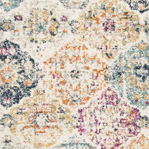 16f58ed2d2d Safavieh Madison Collection MAD611B Cream and Multicolored Bohemian Chic  Distressed Area Rug (8  x