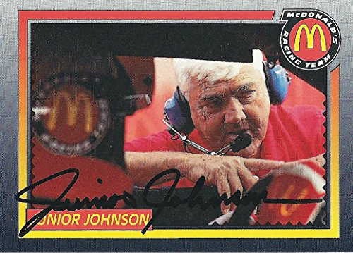 (AUTOGRAPHED Junior Johnson 1992 Maxx Racing (Team Owner) McDonalds Race Team Rare Promo Signed Collectible NASCAR Trading Card with COA)