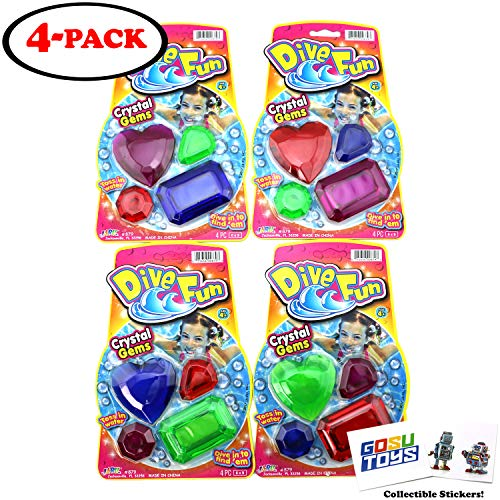 Gosu Toys Dive Fun Crystal Gems Swimming Pool Dive Toy Gem Diving Training Toy Sinker for Kids Fun with 2 Stickers