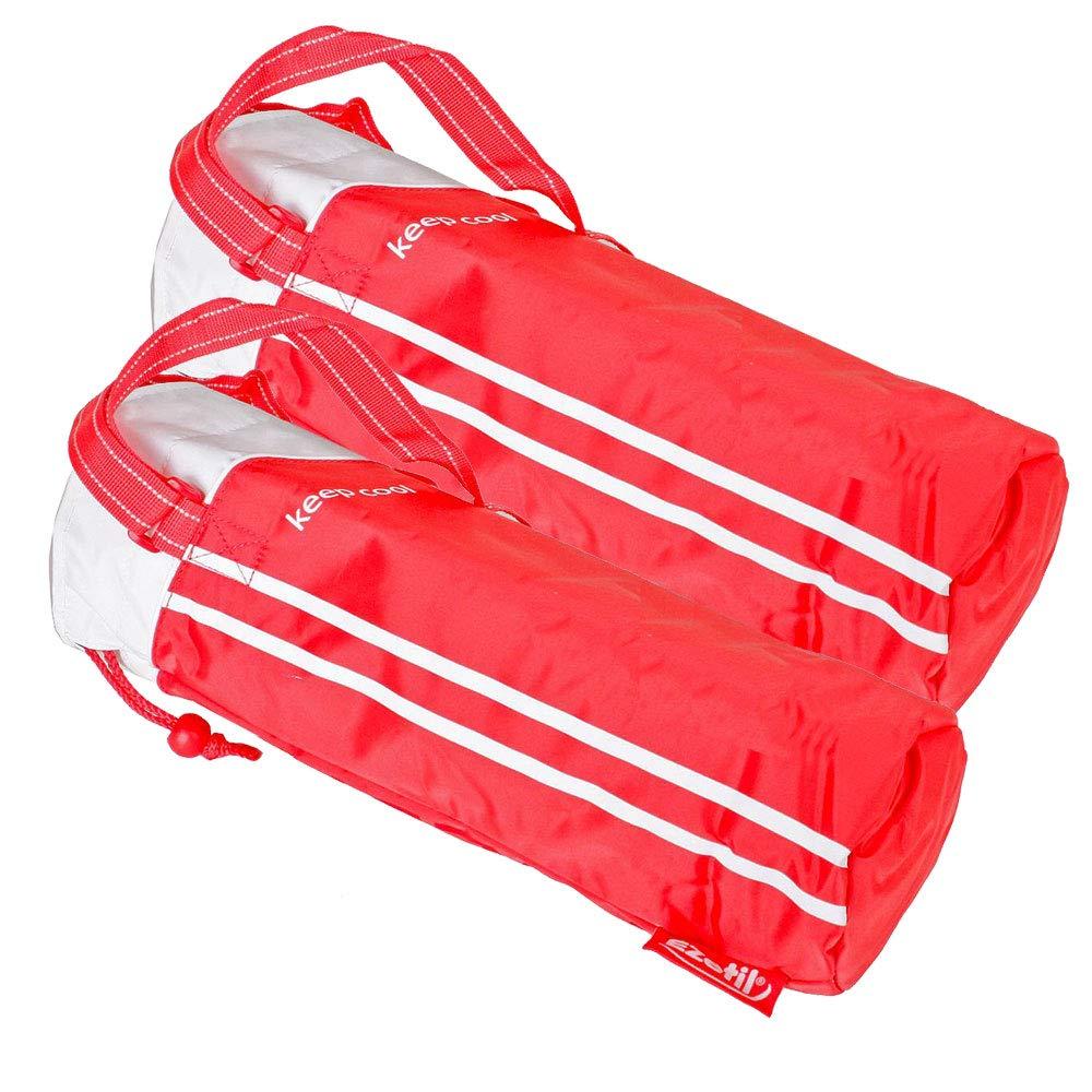 etc-shop 2er Set Kühl Taschen tragbar Camping Park 2 Liter Flaschen Getränke Kühler Isolier Beutel rot