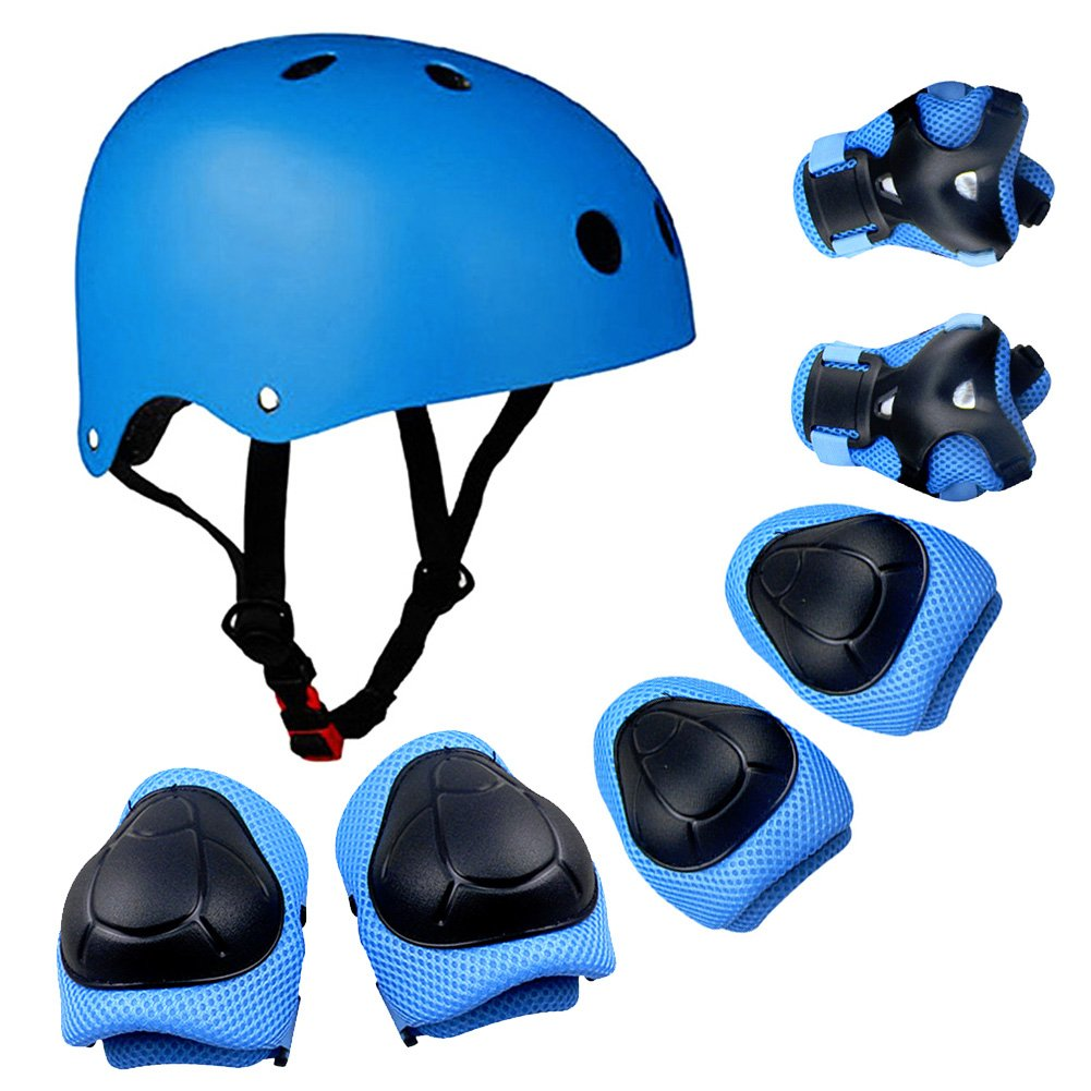 DaCool Kid's Protective Gear Set, Child's Adjustable Helmet, Knee Pads, Elbow Pads and Wrist Pad for Skateboard Roller Skating Cycling Rollerblades, Blue