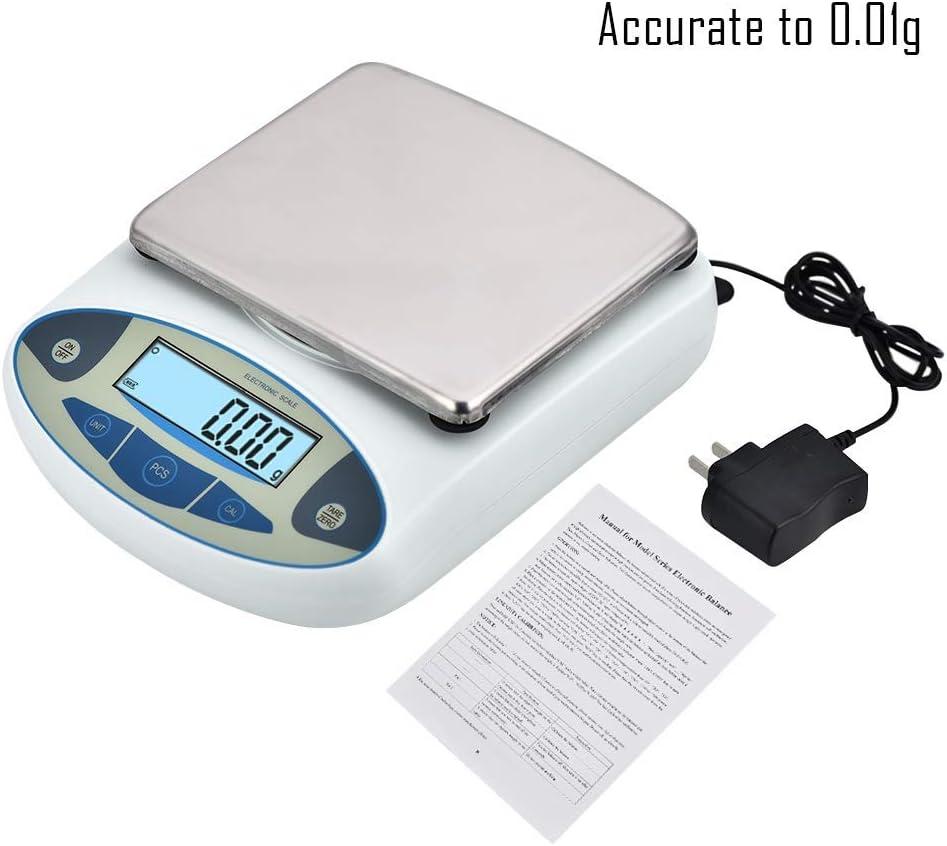 4YANG Balanza electrónica de Laboratorio de Alta precisión, 2000g Balanza de Laboratorio de precisión balanzas Digitales 0.01 g Escalas de joyería Escalas electronicas