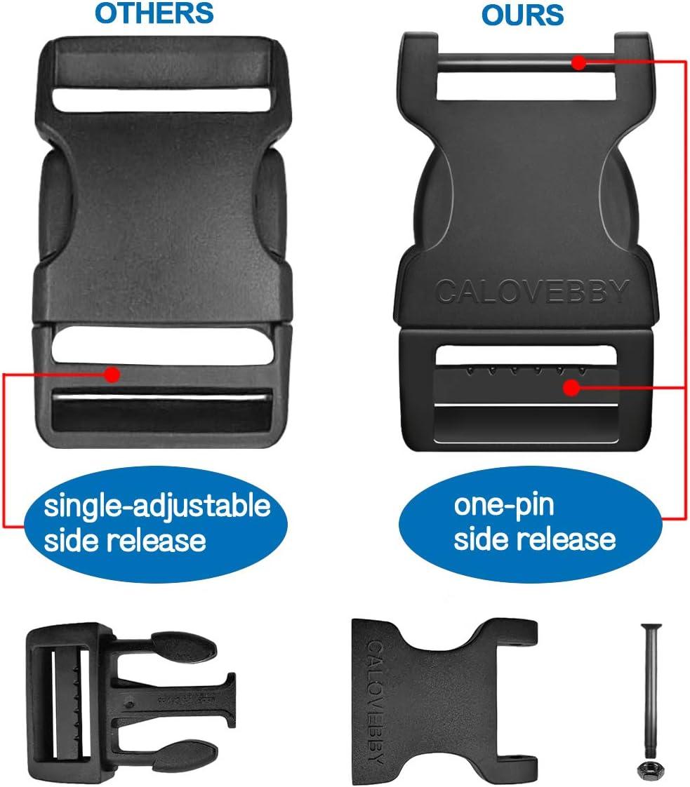 Mythfly Adjustable One-Pin Side Release Buckle Ladderlock 1 Inch Flat Release Buckles for Straps Backpack Bag Webbing Belt Dog Collars Black Field Repair Buckles