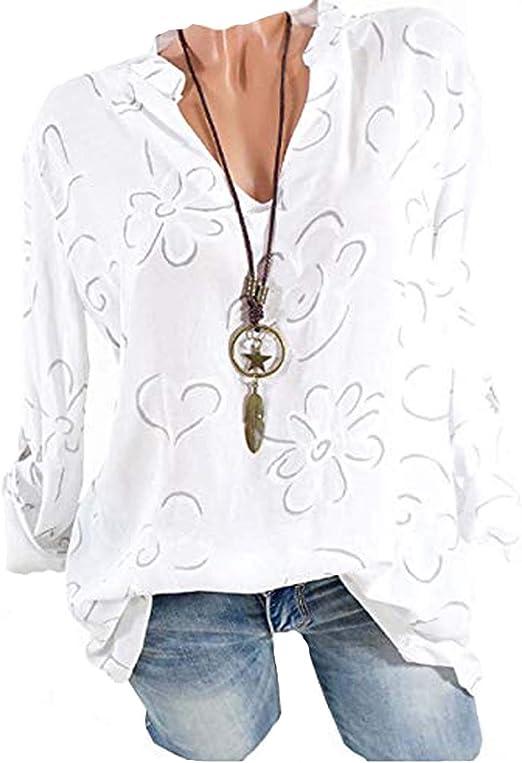 Camisa de mujer con cuello en V de gasa en la parte superior larga de la camisa de manga larga con flores Sfuzwg