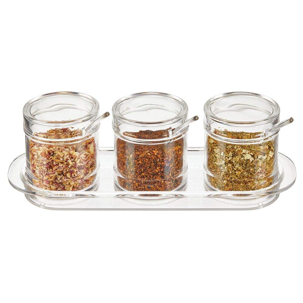 mDesign Plastic Round Triple Seasoning Container, Condiment Jar with Lid and Spoon for Kitchen Countertop to Hold Salt, Pepper, Sugar Cubes, Spices, Sprinkles, Hot Pepper Flakes, Condiments - Clear