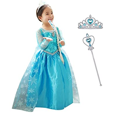 MYZLS Little Girls Princess Dress up Toddlers Elegant Costume for Party Cosplay,2-7 Years,Blue: Clothing