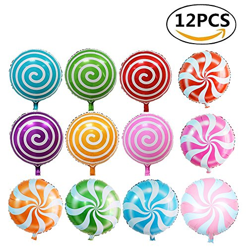 Yexpress 12pcs 18 Inch Round Sweet Candy Balloons, Lollipop Aluminum Film Balloon, Cartoon Birthday Wedding Party Foil Balloons Toy -