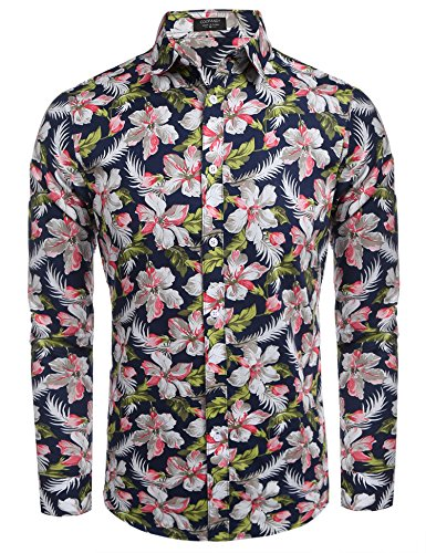 - COOFANDY Men's Floral Print Slim Fit Long Sleeve Casual Button Down Shirt,Navy Blue&flower,XX-Large