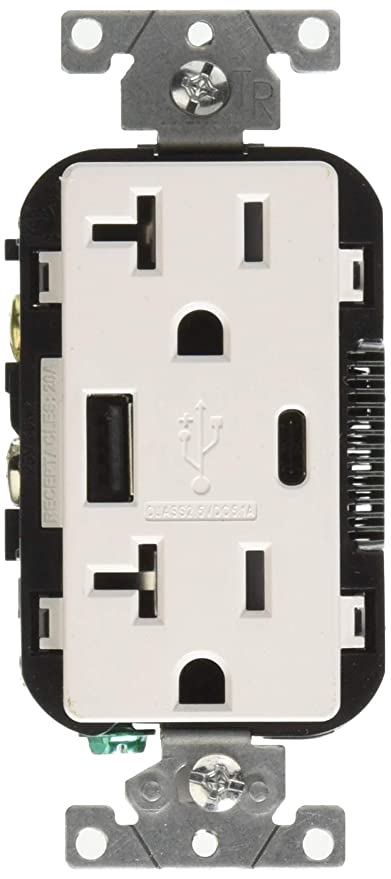 Amazon.com: Leviton T5833-W 20-Amp Tipo A & Type-C ...