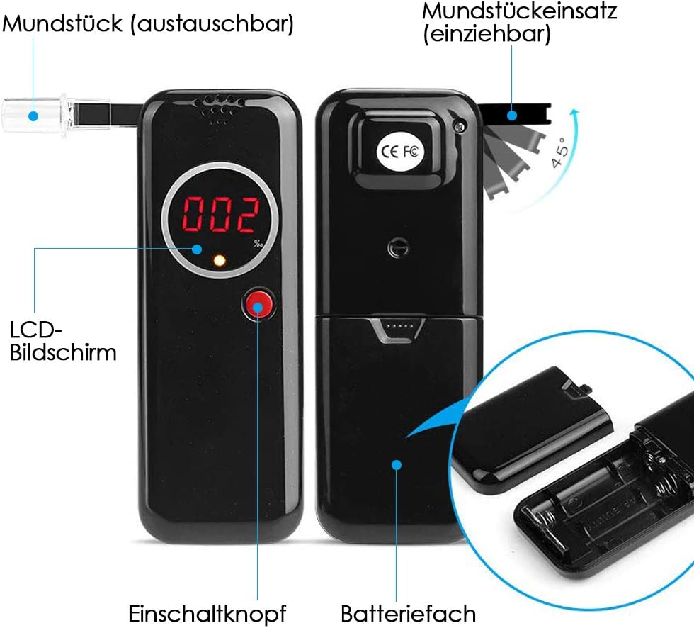 Party; Akustischer Alarm Soulcker Alkoholtester Digitaler LCD Bildschirm Alkohol Tester Promilletester Tragbar Alkoholmessger/ät mit 5 Mundst/ücken f/ür Auto Anzeige der Aktuellen Temperatur Spass