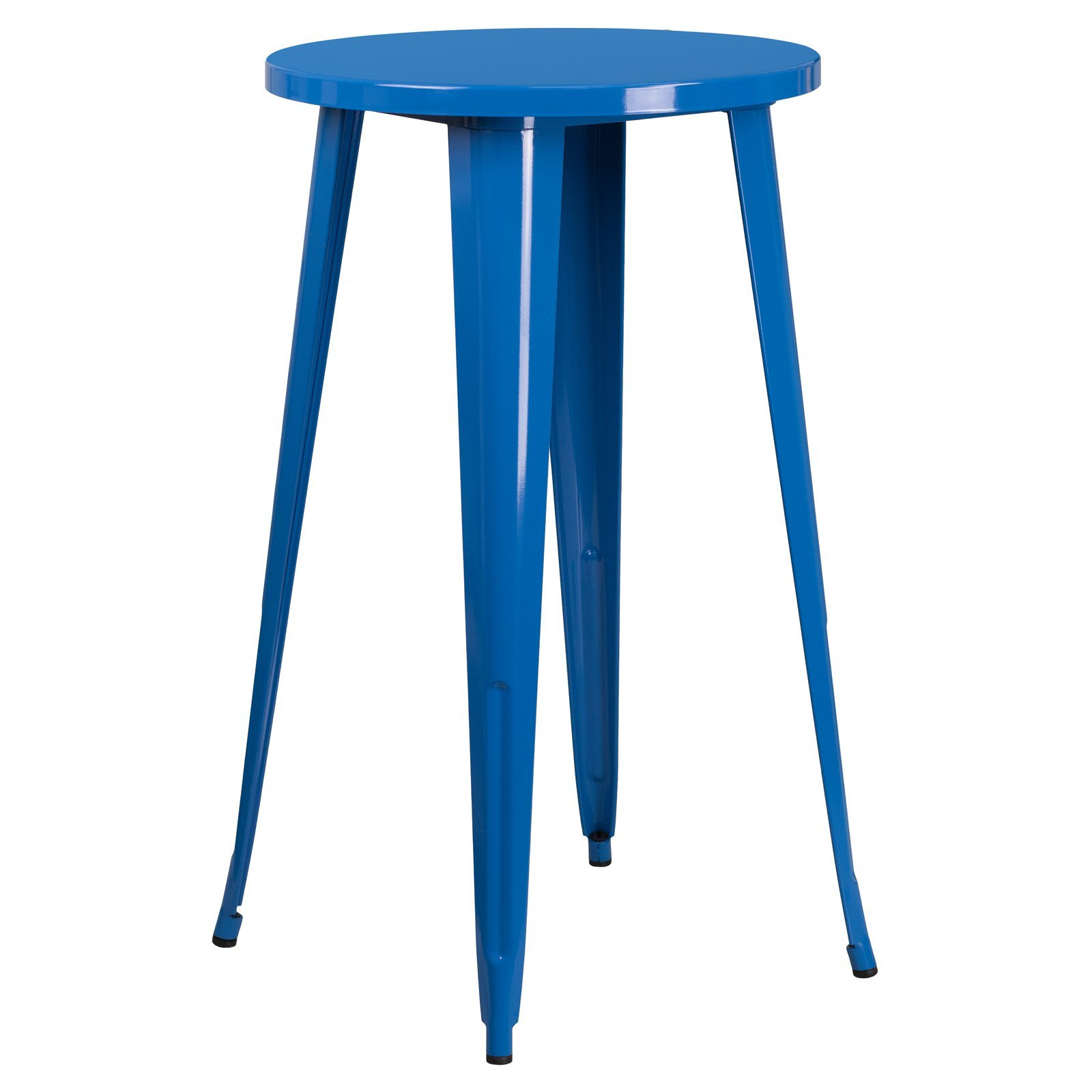 Basic Round Metal Indoor/Outdoor Bar Height Table with Protective Rubber Feet to Prevent Floor Damage, Thick Brace Underneath for Added Stability, Blue + Expert Home Guide by Love US