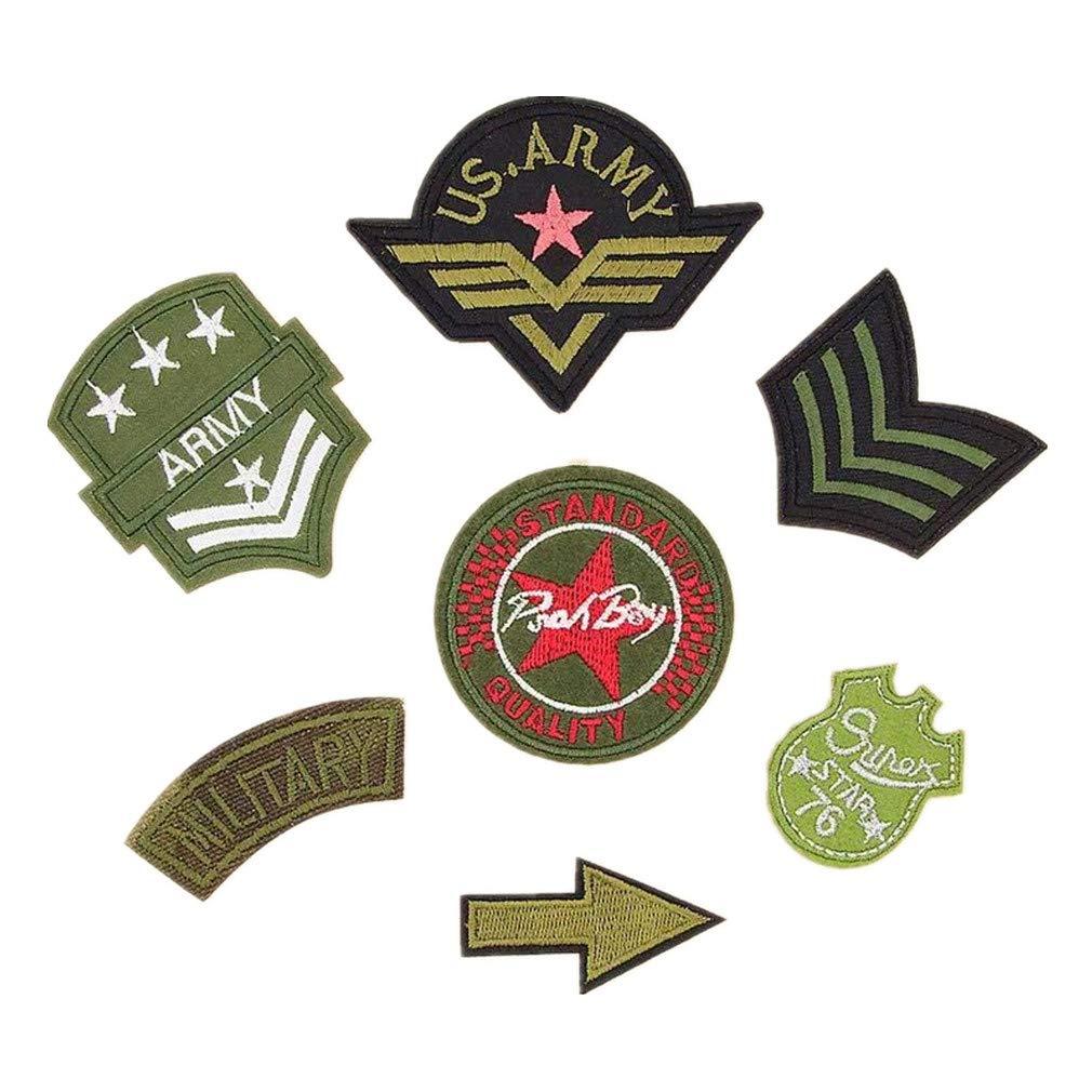 Bella 11pz Toppe Termoadesive Patch Applique Toppa Distintivo Militare Lettere Badge Skull Stampato Patches Iron On Sew On per Borsa Felpa T-Shirt Cappotto