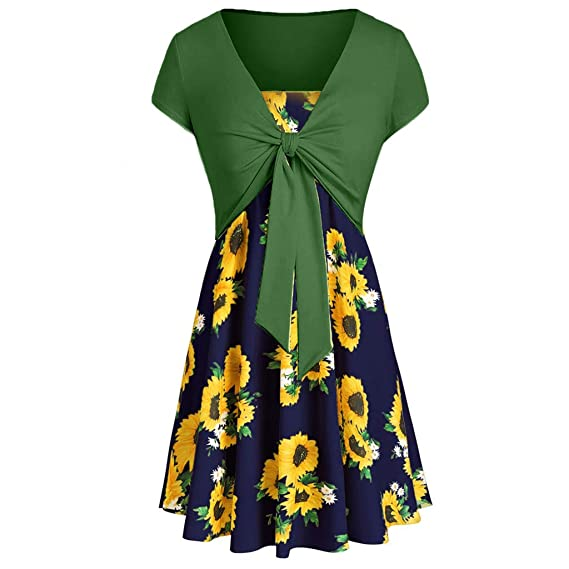 ab22f44483f Amazon.com  Women Summer Sunflower Sleeveless Strappy Beach Casual Dress  with Kont Cover Up Top (Navy Green