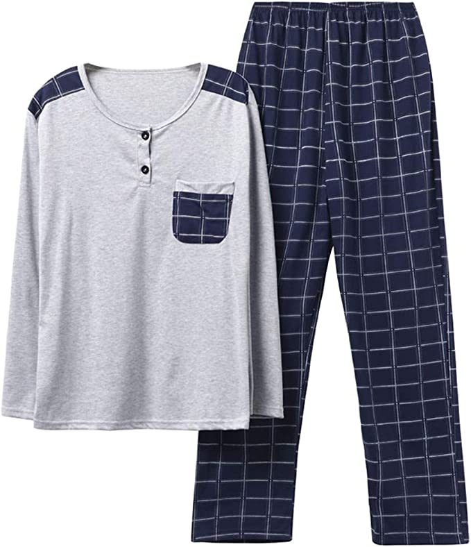 MEIXIA Camisas De Dormir Camisas De Dormir Pijamas Hombre Algodón Mangas Largas Primavera Y Otoño, XXL: Amazon.es: Ropa y accesorios