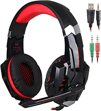 3.5mm Earphone Stereo LED Gaming Headset Headband Headphone w//Mic for Phone PS4