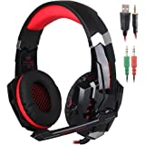 KOTION EACH G9000 3.5mm Game Gaming Headphone Headset Earphone Headband with Microphone LED Light for Computer Tablet Mobile Phones PS4 by Senhai- Black and Red
