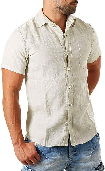 Onsoyours Camisa Hombre Blusa Suelta Casual Transpirable Top de Manga Larga Camisas Sin Cuello de Color Sólido Blusas de Trabajo: Amazon.es: Ropa y accesorios