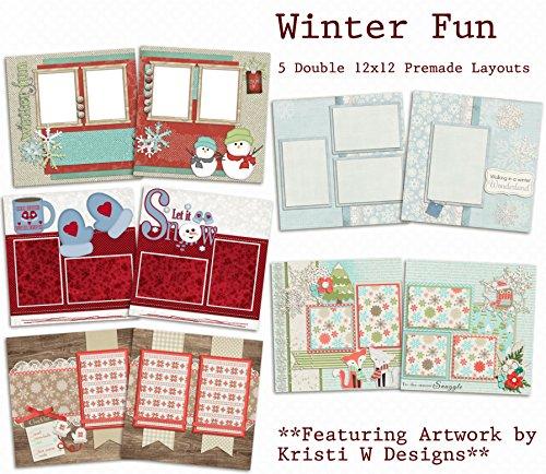 Winter Fun Scrapbook Set - 5 Double Page Layouts ()
