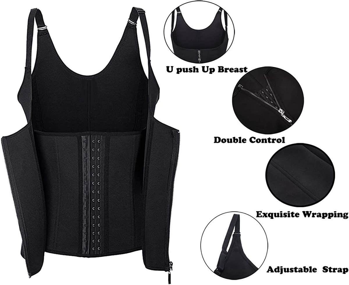 Waist Trainer Corset for Weight Loss Tummy Control Sport Workout Body Shaper Black