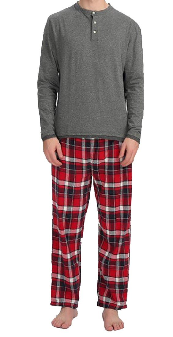 Coolred-Men Plus-size Fine Cotton Top and Bottom Family Pajama Set As Picture XS