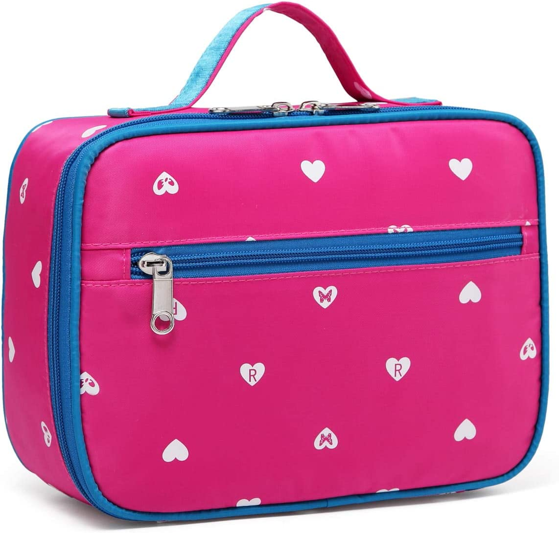BLUEFAIRY Kids Insulated Lunch Box for Little Girls Lunchbags Lunch Bags Carrier Food Cooler Carrying Case for School Outdoor with Handle Zipper Pockets (Hot Pink)