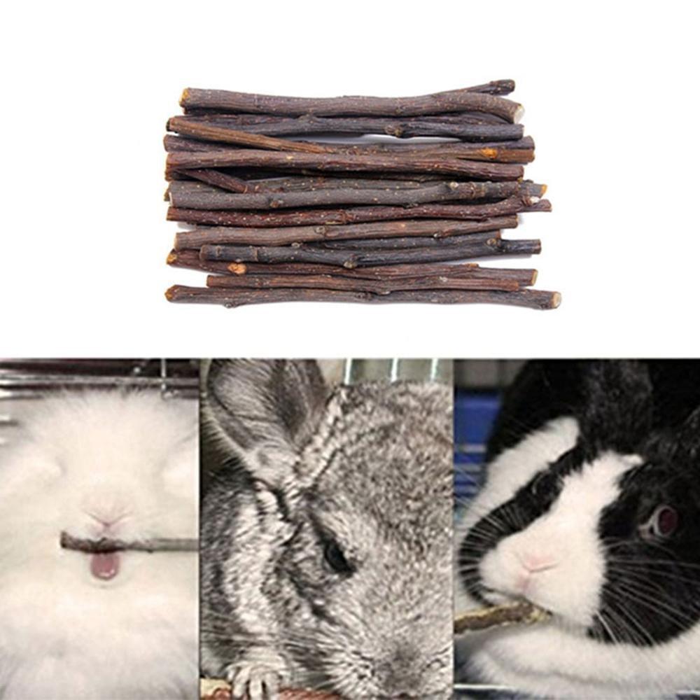 KOBWA Apple Sticks,Pet Chew Toys Molar Stick Pure Natural Apple Dry Branch for Guinea Pigs Chinchilla Squirrel Rabbits Parrot Hamster