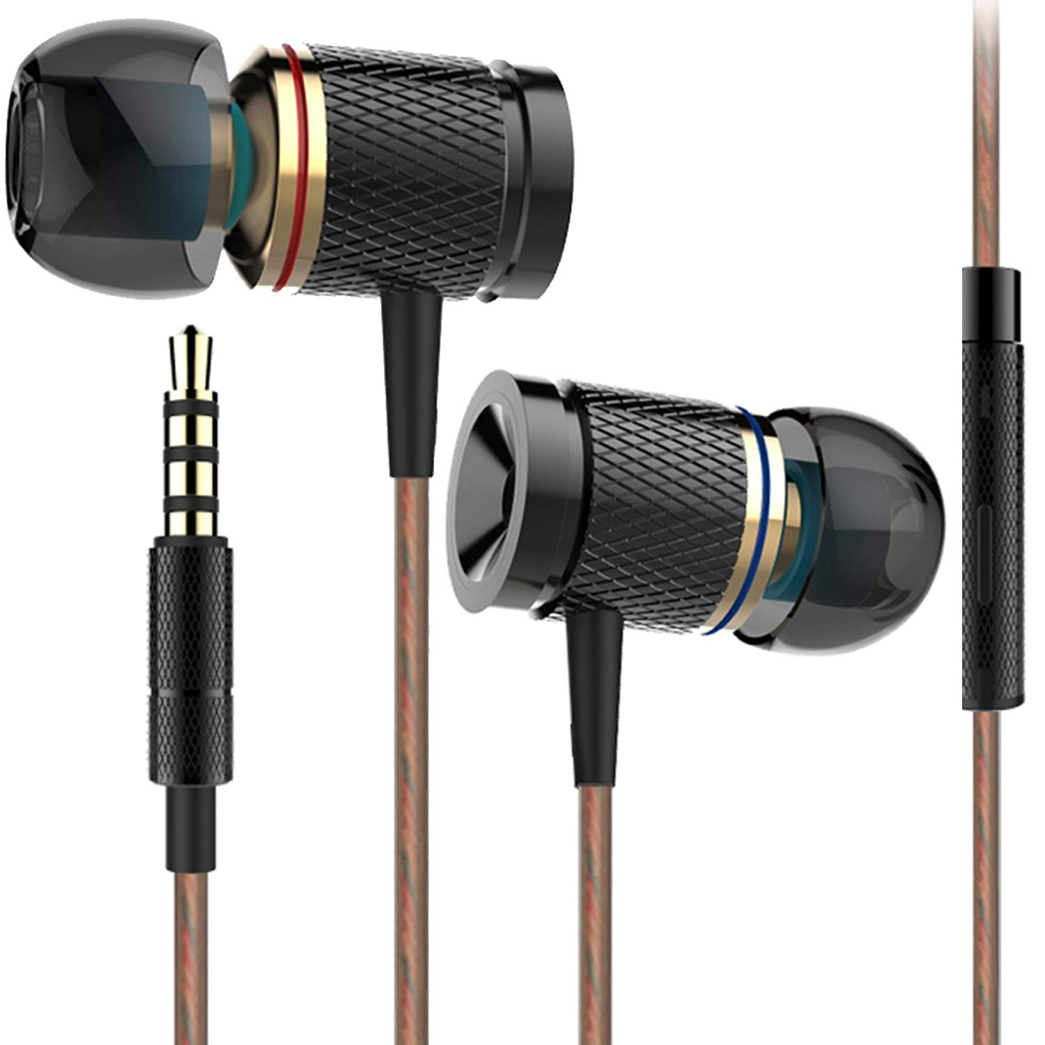 Earphones Headphones Ofuca X53 Noise Isolating in-Ear Earbuds with Pure Sound and Rich Bass Compatible with Smartphone, MP3 MP4 Player Tablet and All 3.5mm Audio Device with Microphone