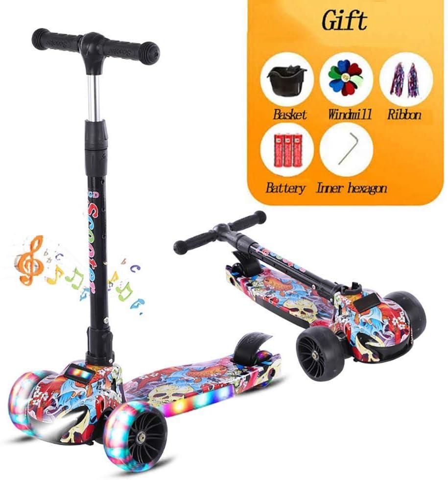 Kyman Plegable Urban Scooter, 3 Ruedas Scooter Niño - de LED se encienden Las Ruedas - Altura Ajustable - 176.37lbs Carga máxima - for Niños Niñas 2-12 años (Color : 4)