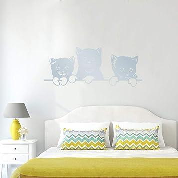 Tallado Vinilo Gato Pegatinas de Pared para niños habitación DIY Dormitorio Pegatinas Fondo Mural decoración para el hogar autocollantes Muraux70 * 28 cm: ...