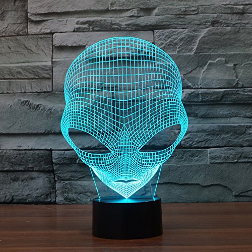 FLYMEI 3D Optical Illusion Desk Lamp Unique Night Light for Home Decor 7 Colors Changing USB Powered Touch Button LED Table Lamp - BEST Gift for Kids/ Friends/ Birthdays/Holidays (Alien) ()
