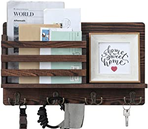 Wooden Key and Mail Holder for Wall Decorative - Mail Organizer Wall Mount, Entryway Organizer with 4 Key Rack Hooks, Rustic Hanging Decor for Entryway, Office, 100% Pine Wood (A-Brown)