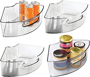 "mDesign Deep Plastic Kitchen Cabinet Lazy Susan Storage Organizer Bin with Front Handle - Small Pie-Shaped 1/4 Wedge, 4"" High Container - Holds Tea, Coffee, Dry Goods, Pastas - 4 Pack - Smoke Gray"