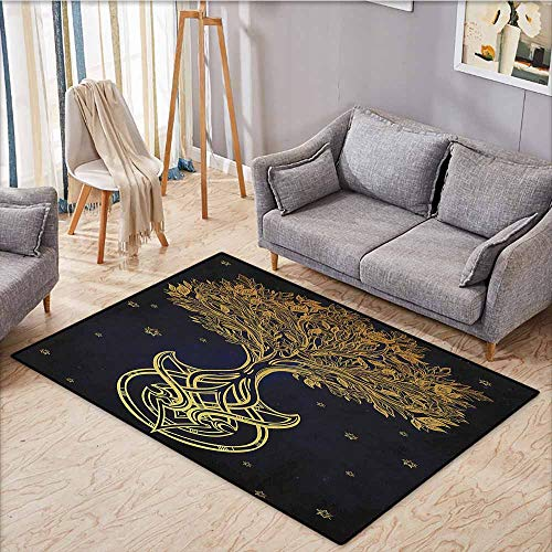Outdoor Patio Rug,Tree of Life,Romantic Plant Night with Stars in Sky Baroque Style Mystic Tribal Symbol,Anti-Slip Doormat Footpad Machine Washable,4'7