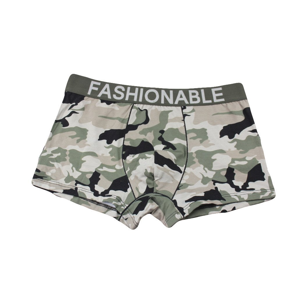 Autumn wind Men Cotton Breathable Boxers Panties ♕ Camouflage Thongs Underwear, 5 Colors, L-3XL