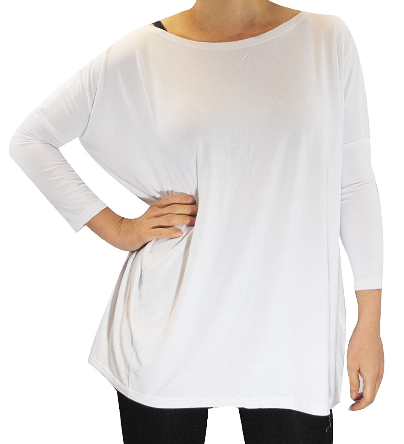 8b9026c3539 best Piko Women s 1988 Famous 3 4 Sleeve Bamboo Top Loose Fit (White ...