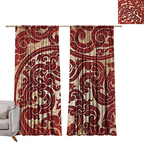 Curtain Panels Antique,Thai Culture Vector Abstract Background Flower Pattern Wallpaper Design Artwork Print,Ruby W96 x L84 Grommet Curtain for Bedroom