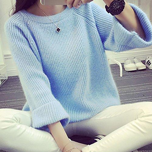 YOUJIA Sueter Suéter Tejido de Mujer Jerseys de Punto Mujeres Jersey Suelto Pullover Sueteres Tejidos Sueters Redondo Cuello Manga Larga Azul